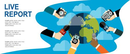 Journalism concept vector illustration in flat style .Vector live report concept, live news, hands of journalists with microphones, camera and tape recorders