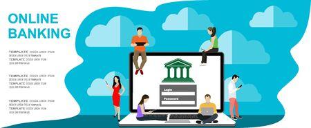 Internet banking. Flat vector illustration