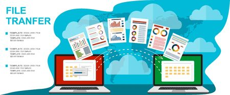 File transfer. Two laptops with folders on screen and transferred documents. Copy files, data exchange, backup, PC migration, file sharing concepts. Flat design graphic elements. Vector illustration Ilustração