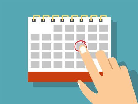 Papieren spiraal wandkalender. Schema, afspraak, organisator, urenstaat, tijdbeheer, belangrijke datum. illustratie in vlakke stijl Vector Illustratie