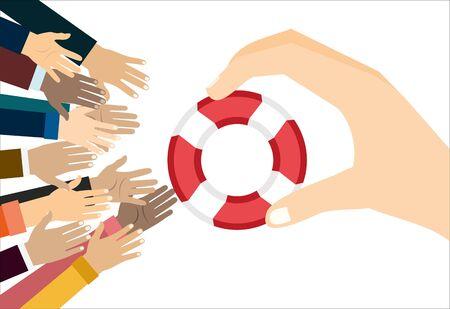 Human hands and a lifebuoy. Saving Lives. Stock illustration.