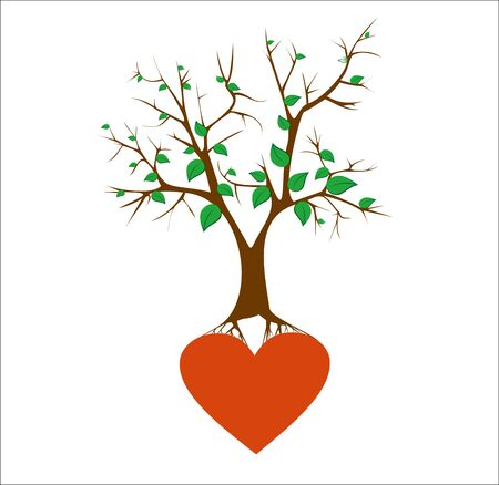 Tree with Roots end hearts. Vector image.