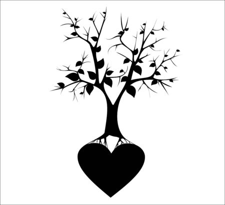 Tree with Roots end hearts. Vector image. Ilustração