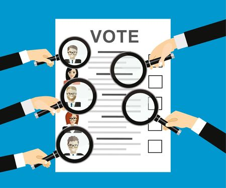 Hands holding a magnifying glass with Ballot paper with candidates. illustration in flat design on blue background