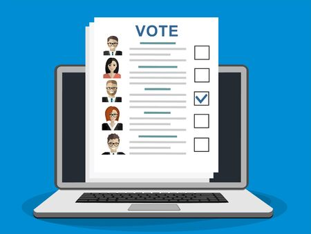 Online Ballot paper with candidates. Election bill. Vote document with faces. Vector illustration in flat style