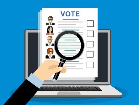 Hand holding a magnifying glass with Ballot paper with candidates. illustration in flat design on blue background Illusztráció