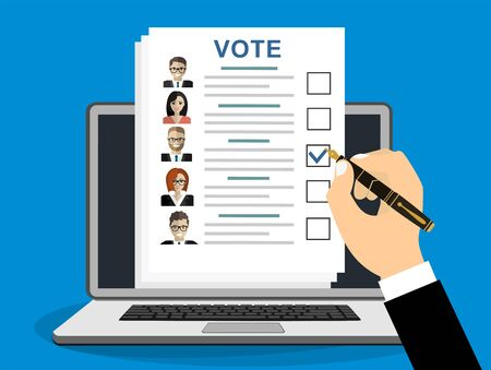 Online Ballot paper with candidates. Hand with pen and election bill. Vote document with faces. Vector illustration in flat style