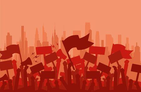 Folla di sagoma di manifestanti di persone. Protesta, rivoluzione, manifestanti o conflitto. Illustrazione vettoriale piatto.