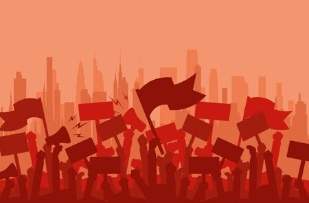 Multitud de silueta de manifestantes de personas. Protesta, revolución, manifestantes o conflicto. Ilustración de vector plano.