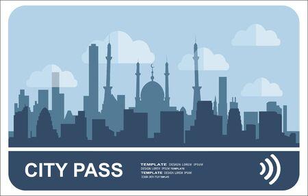 Stadtpass. Bus-, Zug-, U-Bahn-Fahrkarte mit bargeldlosem Zahlungssystem. Karte mit Stadtplan mit Roards und Häusern. Vektorillustration im flachen Stil