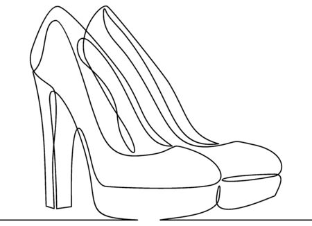 Continuous line drawing of women's high heel shoes. Ilustração