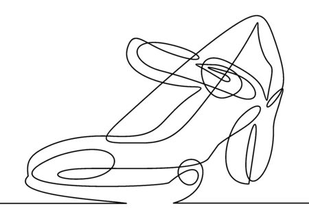 Continuous line drawing of womens high heel shoes.