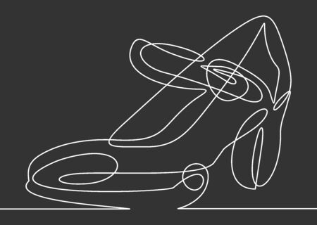 Continuous line drawing of women's high heel shoes. Imagens - 137469987