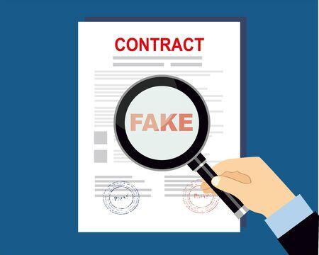 Contratto falso con illustrazione vettoriale di lente d'ingrandimento