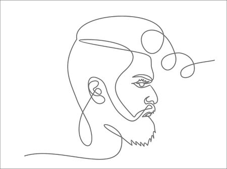 Continuous one line drawing of man hipster portrait. Hairstyle of a beard mustache bangs. Fashionable men's style.