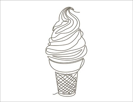 Ice cream continuous one line drawing minimalism design isolated on white background