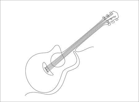 Classical acoustic guitar one line art. Line illustration. Minimalist print.  イラスト・ベクター素材