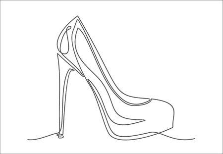Dessin au trait continu de chaussures à talons hauts pour femmes. Vecteurs