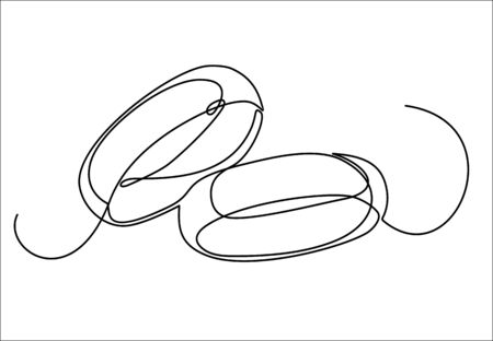 Wedding rings vector one continuous line art. Line illustration. Minimalist print. Black and white.
