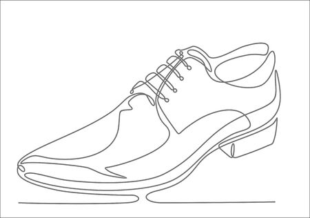 Mens Shoes continuous one line drawing minimalism design isolated on white background Ilustracja