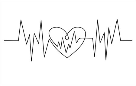 Heart cardiogram continuous one line drawing minimalism design isolated on white background