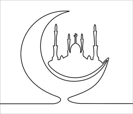 Mosque and Moon continuous one line drawing minimalism design isolated on white background. For Muslim holy month Ramadan Kareem. Ramadan Mubarak.