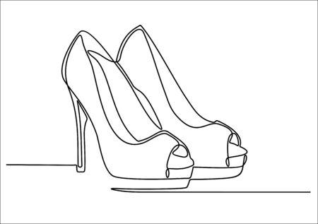 Dessin au trait continu de chaussures à talons hauts pour femmes.