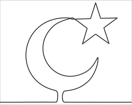 Islam symbol, continuous one line drawing minimalism design isolated on white background