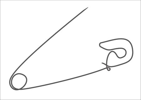one continuous single drawn line art doodle outline safety pin on white background.