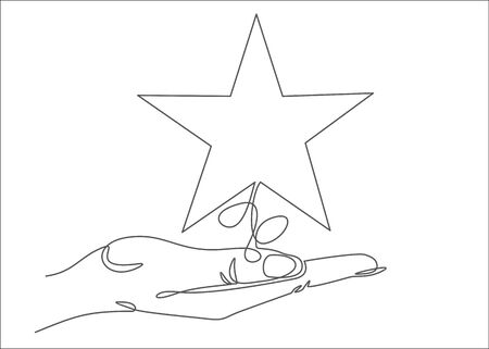 Woman holds star on the palm of his hand, puts rating, reviews. Vector continuous line.