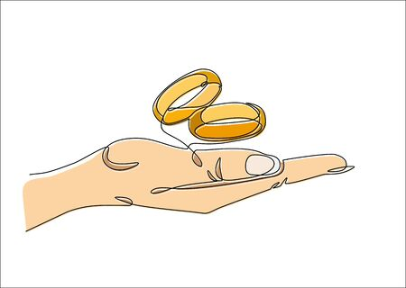 One continuous line drawing of hand holding Wedding rings. Vector illustration.