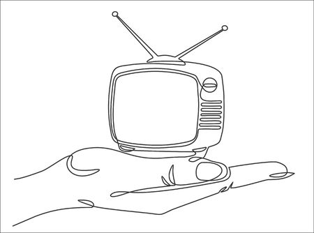 One continuous line drawing of hand holding Retro TV. Vector illustration Ilustracja