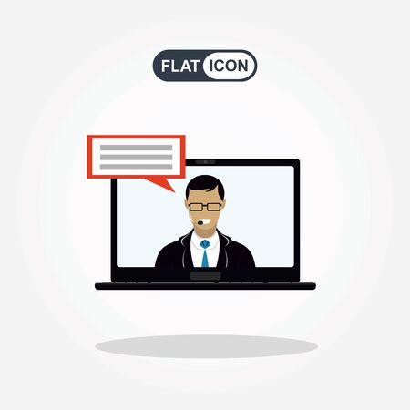 Training, education, online tutorial, e-learning concept. Man out of screen monitor laptop. Flat icon vector.