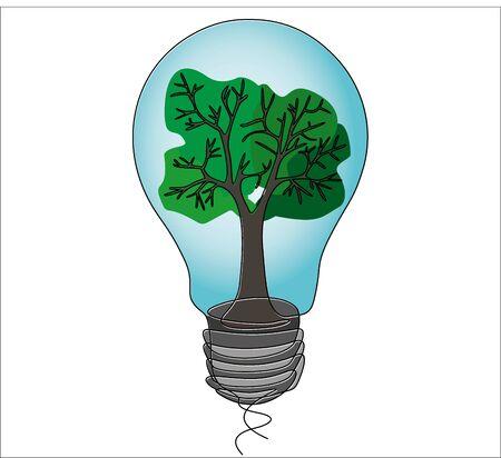 Un disegno a tratteggio continuo della lampadina con l'albero all'interno. Concetto di ecologia Vettoriali
