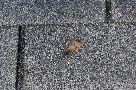 Roofing trouble - damage to shingles that needs repair - home maintenance series. Imagens - 1941854