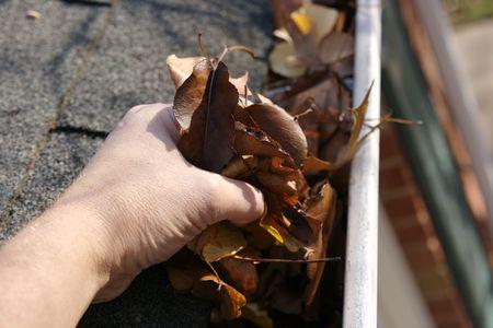 gouttière: Une tradition de chute - nettoyage des goutti�res des feuilles. Ici, nous les voyons obstruer les goutti�res dune maison traditionnelle. A pu �tre employ� pour advertisingclean vers le haut darticlesetc. DOF �troit Banque d'images