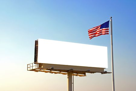 A roadside billboard with an American Flag next to it. The sun was behind the billboard and to the left photo