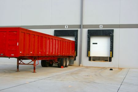 Loading dock at a warehouse - showing just the doors and no trucks Stock Photo