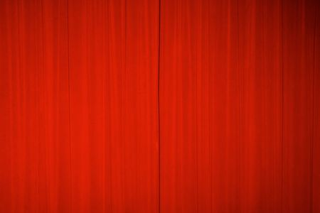 Bright red theater curtains Stock Photo