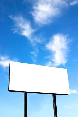 notification: Brand new billboard and a brilliant blue sky with wispy clouds. Stock Photo