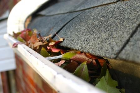 gouttière: A l'automne la tradition - le nettoyage des goutti�res des feuilles. Ici, nous voyons leur bouchant les goutti�res d'une maison traditionnelle. Peut �tre utilis� pour la publicit�  articles de nettoyage, etc. Narrow DOF