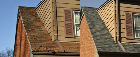 Side by side comparison of before and after roofing job Stock Photo