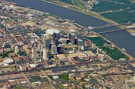 St. Louis from the air - taken from a commercial airliner. Crisper focus is especially evident in the downtown section of the city. This is a unique perspective with many possibilities. Stock Photo