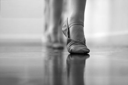 Ballet dancers feet and legs.  photo