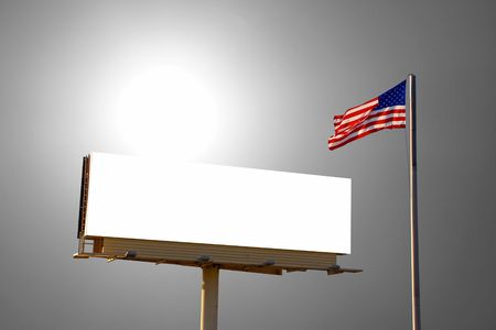 adboard: A billboard with an American Flag next to it. The sun was behind the billboard directly behind the billboard - it is blazing beacon in this image