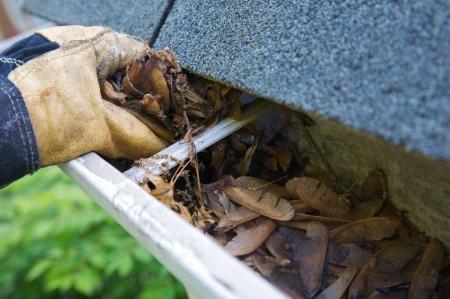 Een daling traditie - het reinigen van de dakgoten van bladeren. Hier zien we hen verstopping van de dakgoten van een traditioneel huis. Kunnen worden gebruikt voor reclame / clean-up artikelen / etc. Smalle DOF