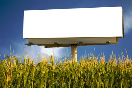 adboard: Empty billboard in a field of corn for you to advertise your message