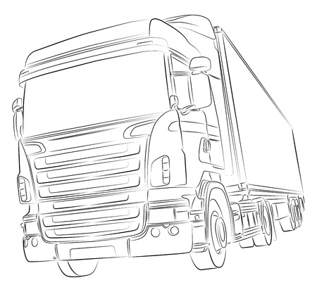 hand truck: Drawing of big delivery truck