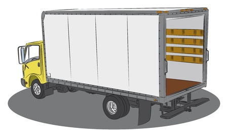 hand truck: Colored open delivery truck drawing Illustration