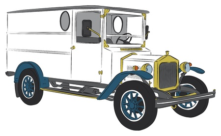 oldtimer: Coloured oldtimer delivery van vector drawing Illustration